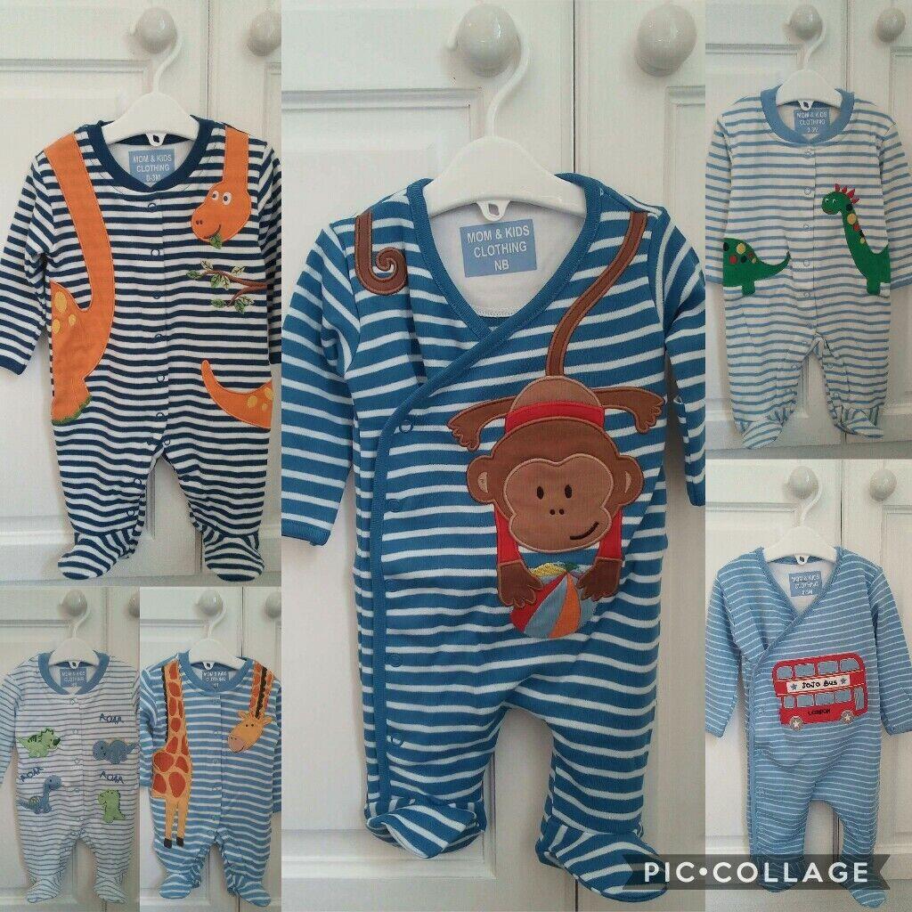 Ex Jojo Maman Bebe Boys Appliqué Baby Grows