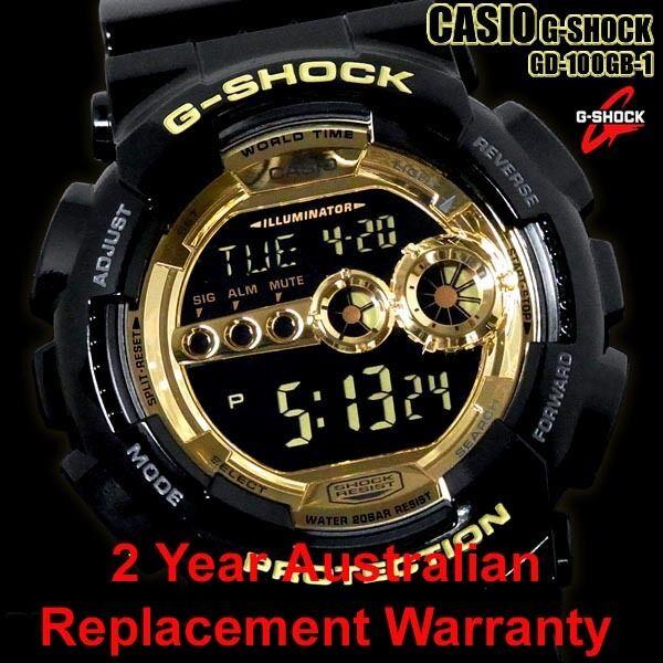 CASIO G-SHOCK WATCH GD-100GB-1 FREE EXPRESS BLACK/GOLD GD-100GB-1DR 2Y WARRANTY