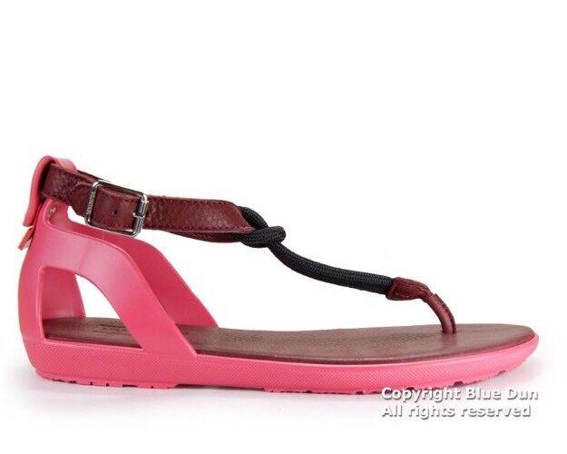 Hunter Elastic T-Bar Pink Sandal Damson Watermelon Burgundy Pink T-Bar Size 7 S6305 NEW 8adadd