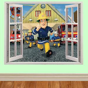 sam-le-pompier-3D-fenetre-enfants-autocollant-mural-pour-chambre-a-coucher-cars