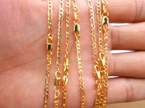 1pcs Gold Plated necklace 2.5MM wide Figaro chain fashion jewelry