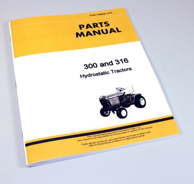 John Deere 316 Lawn Garden Tractor Parts Manual Hydrostatic Ebay