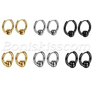 2pcs-Men-039-s-Women-039-s-Charm-Round-Bead-Charms-Huggie-Hinged-Hoop-Ear-Studs-Earrings