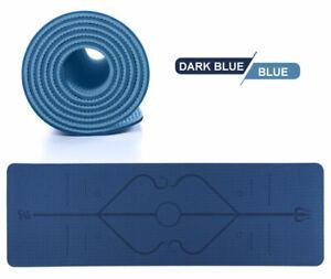 Tpe-double-color-yoga-mat-position-line-Dark-blue-blue