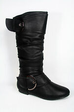 Women's Fashion Classic Buckle Mid Calf Low Heel Flat Boot Shoes Size 5 - 10 NEW
