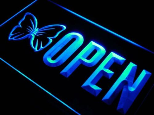 j729-b OPEN Beauty Salon Butterfly Nail Neon Light Sign