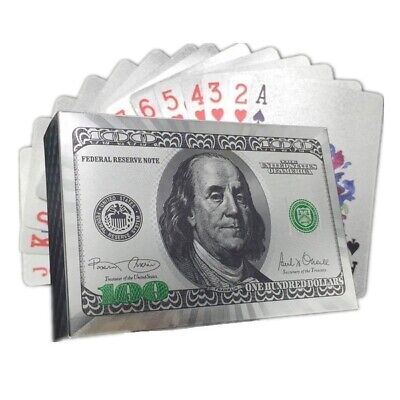 Haute Qualité Plaqué Argent Livre forme plastique Poker Cartes à Jouer