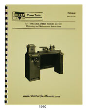 Delta 12 Variable Speed Wood Lathe Operating Maint Amp Parts List Manual 1960