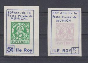 Frankreich-Ile-Roy-Privatpost-Muenchen-ungezaehnt-2-Werte