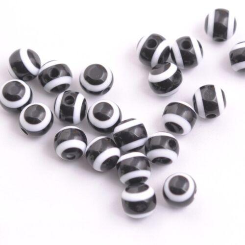 Wholesale Black /& White Resin Round Stripe Beads Acrylic 6MM 8MM 10MM