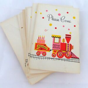 Image Is Loading Set Of 10 Vintage Birthday Cake Train Party