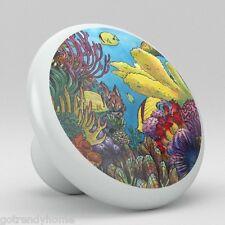 Tropical Fish Ocean Coral Ceramic Knobs Kitchen Drawer Cabinet Vanity Pulls 691