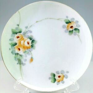 Meito China Hand Painted Plate Porcelain Orange Flowers Green Gold Vintage Japan
