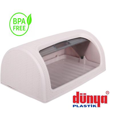 Dunya Bread Bin Retro Large Kitchen Food Storage Loaf Curved Plastic Bread Box