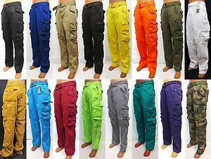 Men's PJ MARK cargo pants brown black olive khaki yellow ...
