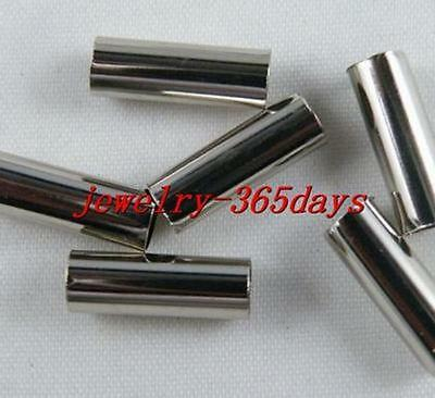 200pcs Nickel Color Smooth Straight Tubes 4x15mm I147