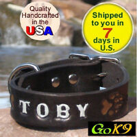 Black/espresso 1 Custom Handmade Leather Dog Collar, Personalized K9 Pet Name
