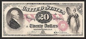 Face of  1875 $20 United States Note US Note Proof Print by the BEP