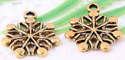 Wholesale 25/52Pcs Silver Plated/Gold Plated(Lead-Free)Snowflake Charms 20x17mm