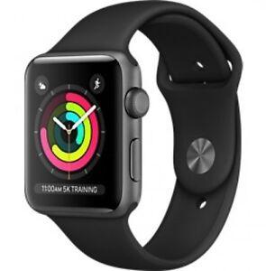 Neuf Apple Watch Series 3 42mm Aluminum Case Sport Gris sidéral avec Noir GPS