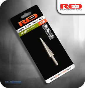 4-12mm #1M Red Pro HSS High Speed Steel 9 Step Cone Drill Bit