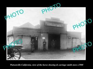 OLD-LARGE-HISTORIC-PHOTO-OF-WATSONVILLE-CALIFORNIA-THE-BLACKSMITH-SHOP-c1900
