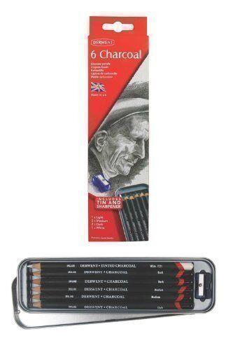 Derwent Charcoal Pencils 6 Tin1 x Light 2 x Medium 2 x Dark 1 x White