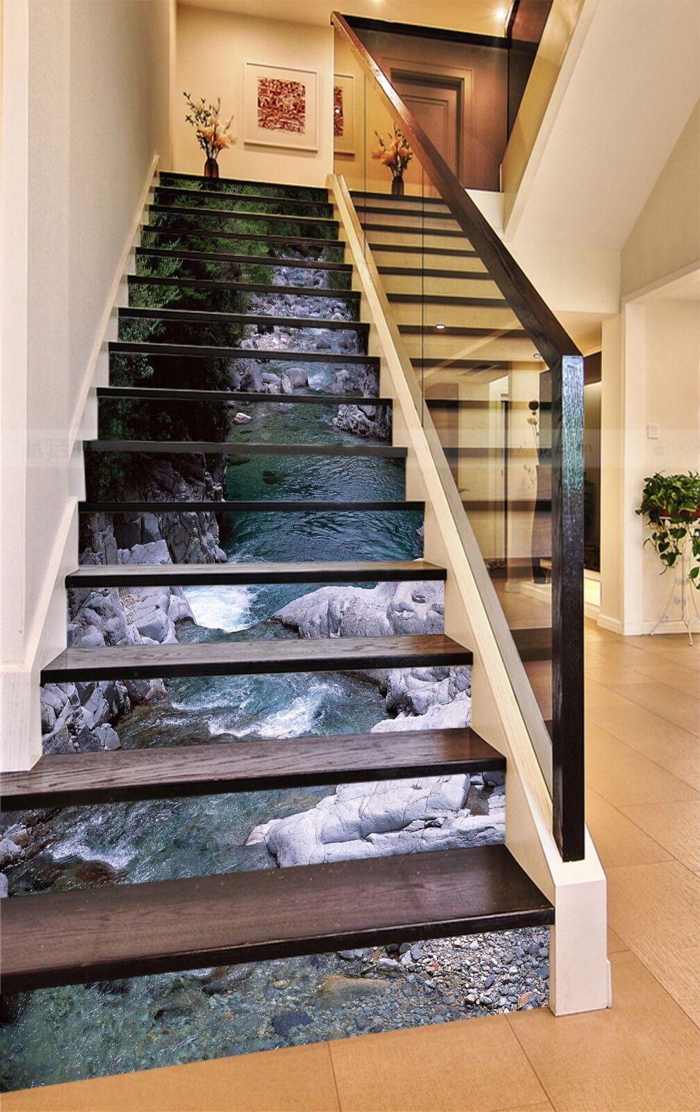 3D Wald Bach 7467 Stair Risers Dekoration Fototapete Vinyl Aufkleber Tapete DE