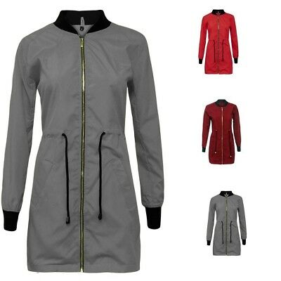 Ladies Long Sleeve Zip Up Longline Tunic Bomber Jacket MA1 Drawstring Top Coat