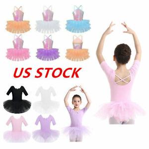 US Kid Girl Sequin Ballet Dance Dress Ballerina Tutu Skirts Gymnastics Dancewear