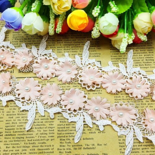 1 Yd Pink 3D Flower Leaves Pearl Lace Trim Ribbon Fabric Appliques Sewing Craft