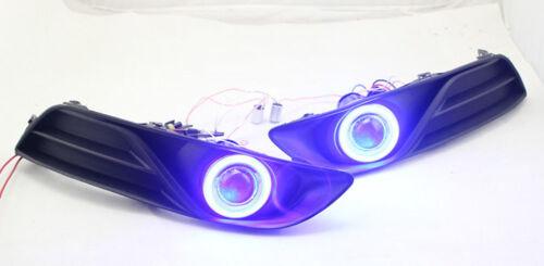 For Nissan Sentra 2013-2015 Clear Lens Fog Light Lamp Bezel Kit COB Angel Eye