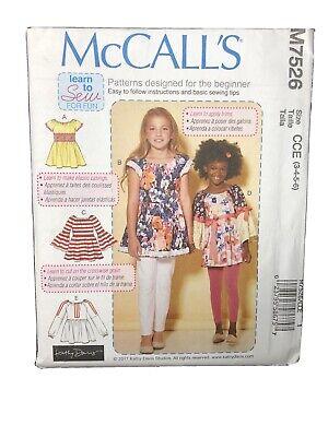Children//Girls Tops McCall/'s Pattern M7526 Learn to Sew Sz 3-6 7-14  Uncut