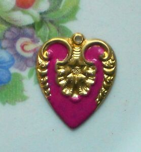 #1006Q Vintage Patina Charm Brass Heart Connector enamel Flower Gilted