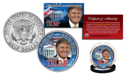 DONALD TRUMP 45th President 2016 OFFICIAL U.S JFK Half Dollar Coin WHITE HOUSE