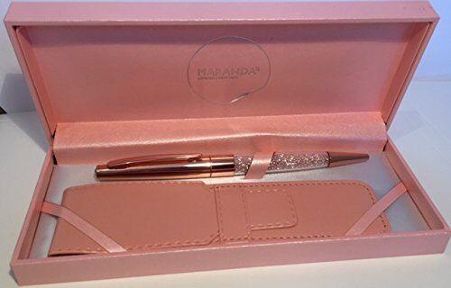 MARANDA-TI Swarovski Crystal Black Ink Ball Pen Gift Box Silver Gold Rose Gold