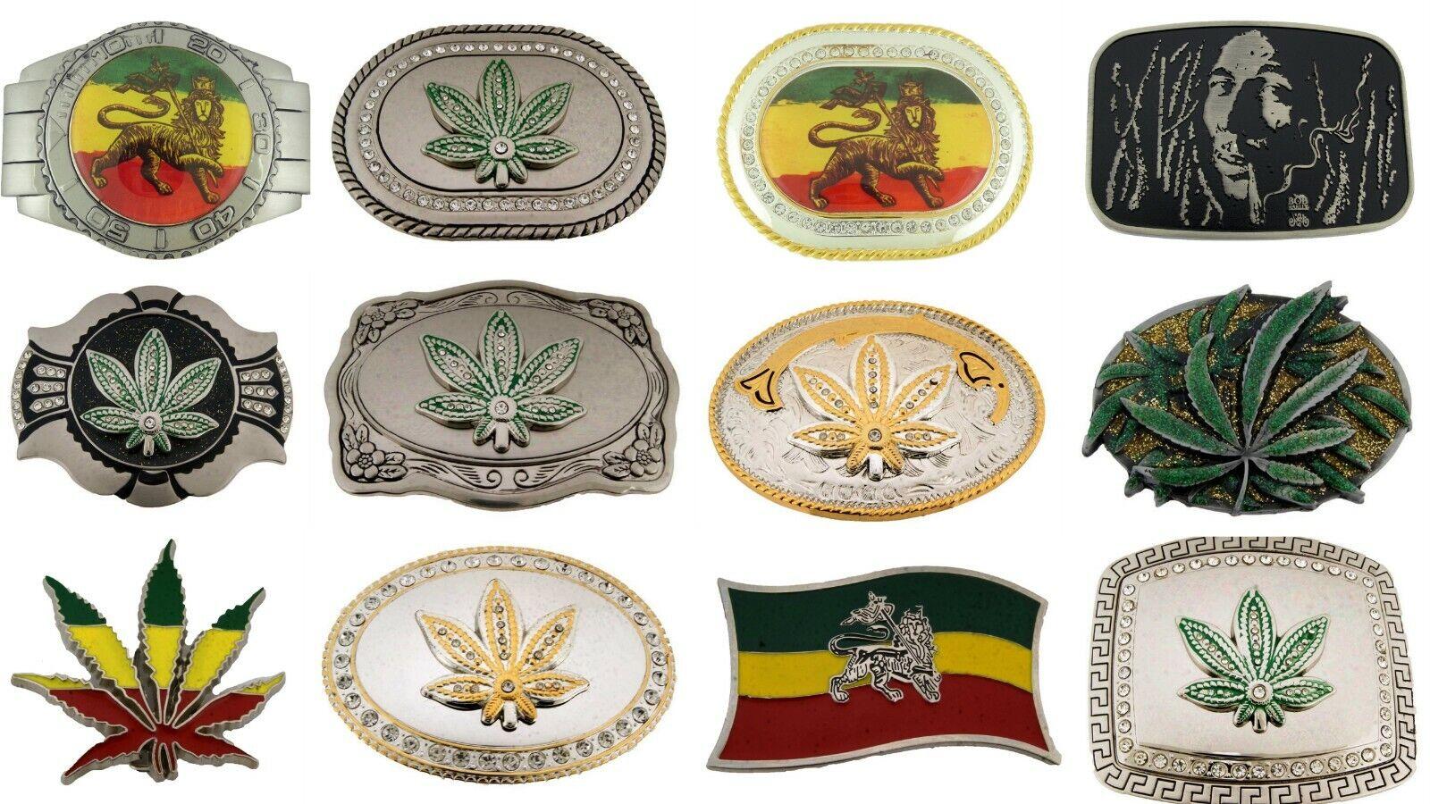 12 PC Menge Rastafari Löwe Judah Marihuana Blatt Pot Gürtel Schnallen Großhandel