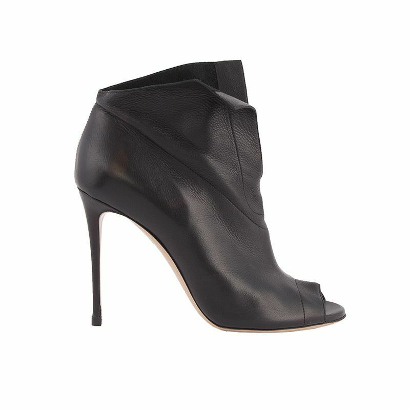 52858 auth CASADEI black leather Peep-Toe Ankle Boots Shoes 8