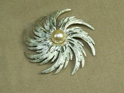 """Vintage LARGE Sarah Coventry Silver Tone Spiral Flower Faux Pearl Pin Brooch 3"""""""