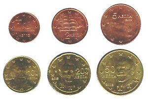 Greece-2002-Maxi-Set-of-6-Euro-Coins-UNC-RARE