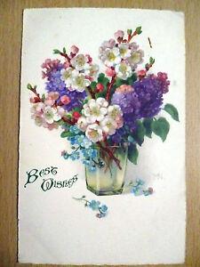 Vintage-posted-Postcard-039-Best-Wish-039-Jesus-Himself-drew-near-amp-went-with-Stamp