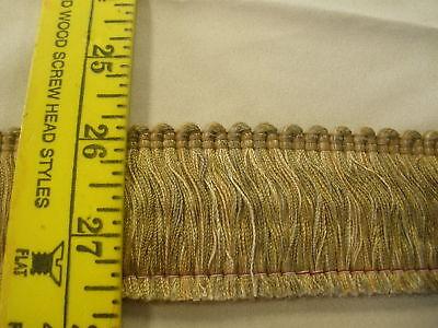 "25 yards 1-3//4/"" Brush Fringe Trim Adobe Green Gold Drapery Upholstery sew crafts"
