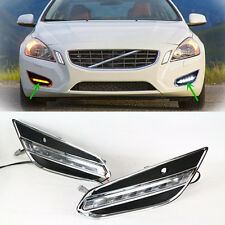 For Volvo S60 2009~2013 White Cars DRL Daytime Running Front Foglights LED 1SET