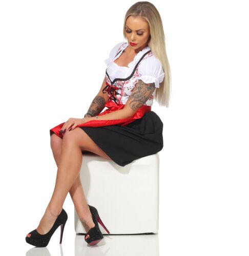 Dirndl Damen Trachtenkleid Set 3 teilig Oktoberfest rosa schwarz rot weiß pink