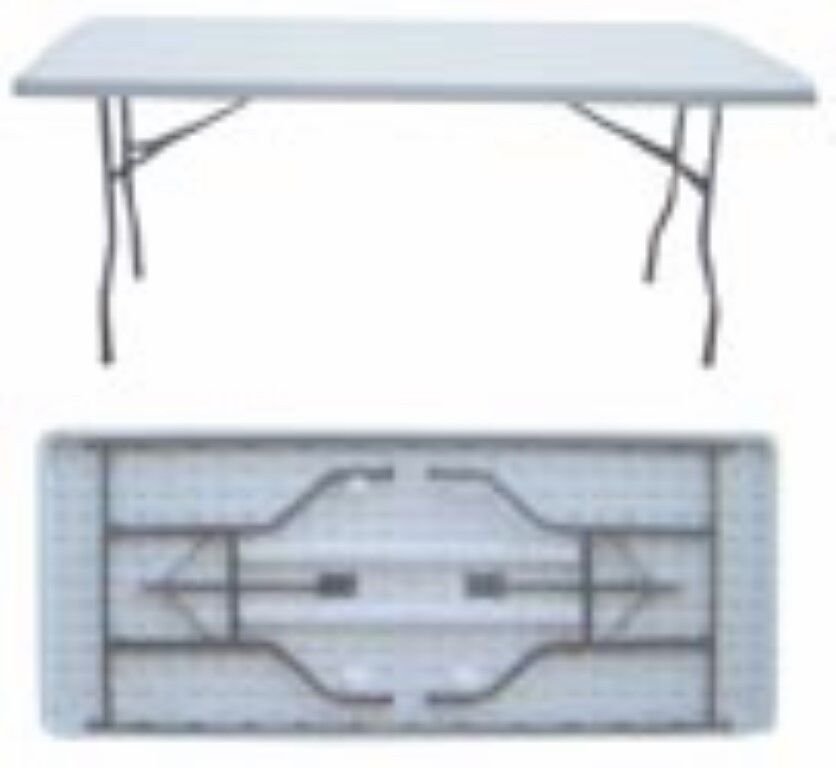 LONG SOLID MOULDED FOLDING TABLE 183X76X73 CM Outdoor Camping Garden BBQ Party