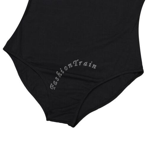 Damen Spaghettiträger Bodysuit Tanz Body Shirt Tops Ballett Trikot Ballettanzug