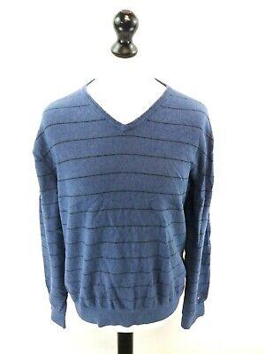 Amichevole Tommy Hilfiger Da Uomo Maglione Pullover L Large Strisce Blu Cotone-