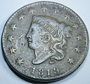 1819 VF-XF Nice US Large Cent Antique US Currency Old U.S. Penny Money Coin USA