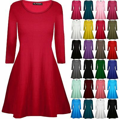 LADIES LONG SLEEVE SKATER SHINY SWING MINI WOMENS PARTY TOP FLARED DRESS UK 8-26