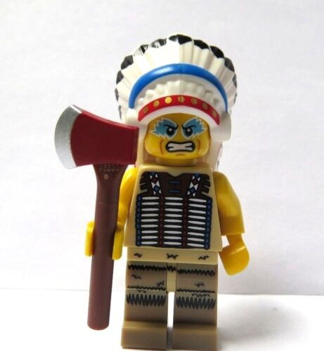 LEGO Male Man Minifigure Figure Indian Chief /& Axe Western Tribal Apache Warrior